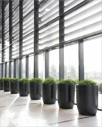 Cylindrical synthetic plant containers